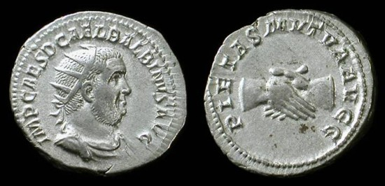 Balbinus, April-July 238 AD. Silver antoninianus. Rare. Excellent portrait!