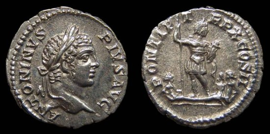 Caracalla, AR Denarius. AD 207. Rome. Caracalla stg. w/ The River-Gods Rhenus & Danubus and a Germanic Captive. Near EF