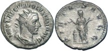 Ancient Coins - Volusian AR antoninianus Pietas standing left