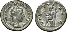 Ancient Coins - Philip I AR antoninianus Virtus seated left