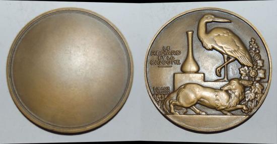 ae medal from JEAN VERNON le renard et la cigogne  60mm bronze