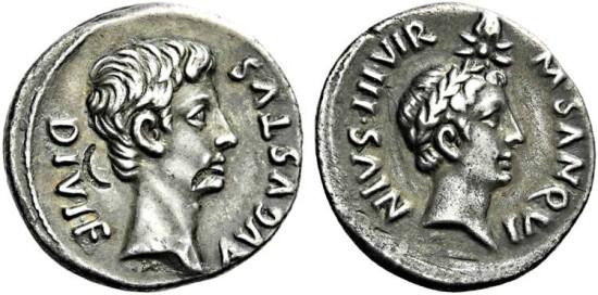 Augustus. 27 BC-AD 14. Denarius.