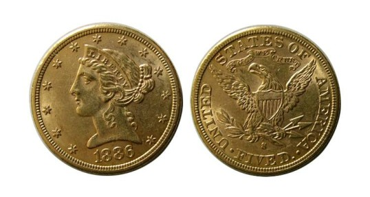 UNITED STATES. Liberty Head. 1886-S Five Dollar Gold