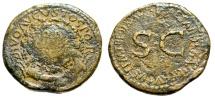"""Ancient Coins - Divus Augustus Sestertius """"Shield Atop Capricorns, Oak Wreath"""" RIC 63 Scarce"""