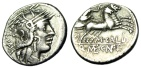 """Ancient Coins - M Calidius, Q Caecilius Metellus & CN Fulvius Silver Denarius """"Roma / Biga"""" VF"""