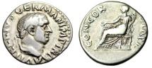"""Ancient Coins - Vitellius Silver Denarius """"CONCORDIA PR Concordia Seated"""" Rome 69AD RIC 73 aVF"""