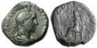 """Ancient Coins - Volusian AE Sestertius """"CONCORDIA AVGG Concordia Seated"""" Rome RIC 250 Rare VF"""