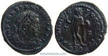 Ancient Coins - CONSTANTINE I, The Great . (AD 306-337) Follis, 2.99g.  Trier. Blundered legends. Overstrike or re-strike
