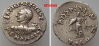 Ancient Coins - 19GC5) BAKTRIA, Indo-Greek Kingdom. Menander I Soter. Circa 155-130 BC. AR Drachm (17 mm, 2.34 g). Indian standard.   Diademed bust left, seen from behind, VF HEROIC BUST