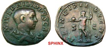 Ancient Coins - 148KG5) PHILIP II, as Caesar. 244-247 AD. Æ Sestertius (29 mm, 18.95 gm, 5h). Struck 246 AD. M IVL PHILIPPVS CAES, bare-headed and draped young bust right / PRINCIPI I-VVENT, VF