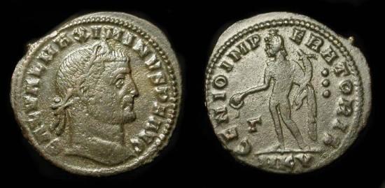 "Maximinus II ""Daza"".  309-313 AD. AE Follis. Cyzicus Mint. RIC VI 70 (s) Scarce Type."