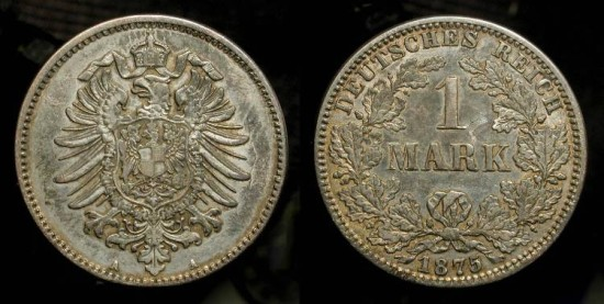 Ancient Coins - German Empire 1875-A  1 Mark Silver Coin.  KM-7