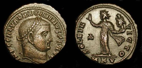 Maximinus II 309-313 AD. AE Follis. Sol holding head of Serapis ! Cyzicus, RIC 92 (s) Scarce !