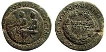 Ancient Coins - Lydia, Sardeis. Germanicus and Drusus, Caesars, ca 23-26 AD. AE 27mm (11.45 gm), restruck ca 28-29 AD by Asinius Pollio, Proconsul. RPC I 2995