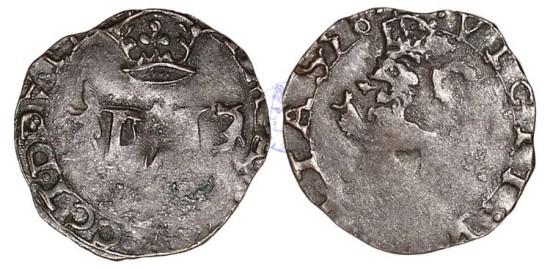 S312 - SCOTLAND, Mary (1542-1567), 2nd Period, Marriage to Francis (Dauphin of France, later king Francis II of France), (1558-1560), Billon Lion or Hardhead
