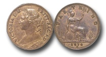 World Coins - EM316 -  	Great Britain,  Victoria   (1837-1901), Bronze Farthing, 1874 H, struck under contract by Ralph Heaton & Sons, Birmingham