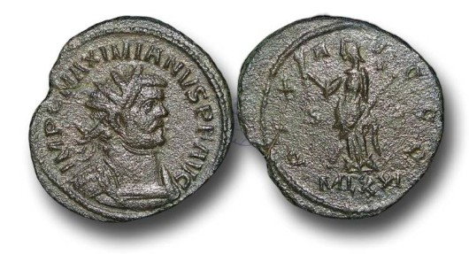 R6071 - The 'Romano-British Empire', Carausius (A.D.287-293) propaganda issue struck in the name of Maximianus, 1st reign, (A.D. 286-305), Bronze Antoninianus, 3.90g., London min