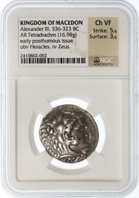 Ancient Coins - Alexander the Great AR Tetradrachm, Ch. VF, NGC encapsulated, Ake (Akko) Mint