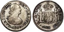 World Coins - Mexicio as Spanish Colony. Carlos IV (1788-1808 ). AR 1/2 Real 1807 TH. Choice XF