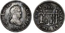 World Coins - Mexico  as Spanish Colony. Ferdinand VII. AR 1/2 Real 1818/7-JJ.  Good VF.