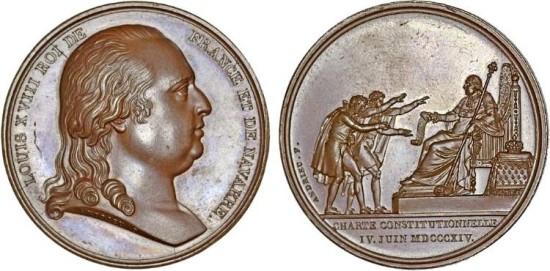 """Francia.  Louis XVIII (1814, 1815-1824) AE Medalla """"Constitucional promulgada Carta 04 de junio 1814"""" UNC"""