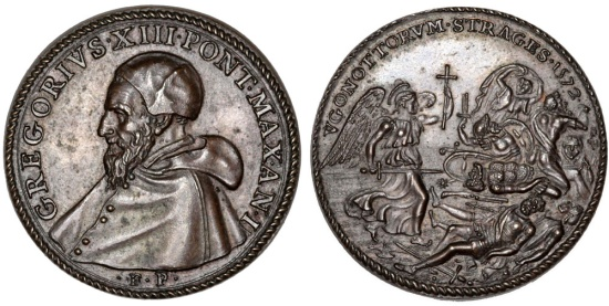 "Italian Papal States: Pope Gregorius XIII - Ugo Boncompagni (1572-1585) AE Medal ""the massacre of the Huguenots"" 1572 (AN I). AU+"
