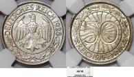 World Coins - Germany. Waimar Republic. 50 Reichspfennig 1928 A. NGC AU58