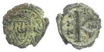 Ancient Coins - BYZANTINE, Maurice Tiberius. AE Half Follis. Theoupolis (Antioch) mint. Dated RY 13 (594/5)