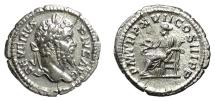 Ancient Coins - SEPTIMIUS SEVERUS. AR denarius, Rome mint, 209 AD. Salus feeding serpent