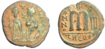 Ancient Coins - BYZANTINE, PHOCAS and LEONTIA. AE 40 Nummi. Antioch mint. Struck 604-605 AD