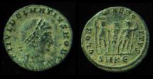 Ancient Coins - DELMATIUS, 335-337 AD. GLORIA EXERCITUS. SMKE.  Mint of Cyzicus