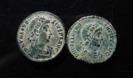 Ancient Coins - Lot of 2 roman AE Centenionalis , VF, 23m,  Desert patina