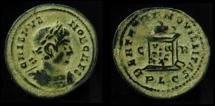 Ancient Coins - CRISPUS, 316-317 AD. Globe on Altar. Scarce Mint of Lyon.