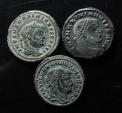 Ancient Coins - Lot of 3 Maximianus large bronze follis.  28mm