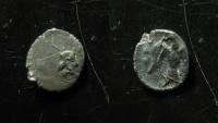 Ancient Coins - Judaea. Persian period. 375-333 BCE. Yehud silver Hemiobol. legend left, Scarce!