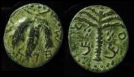 Ancient Coins - JUDAEA, Bar Kochba Revolt. 132-135 CE. Middle Bronze. Irregular Coinage. Rare