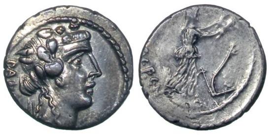 Roman Republican, C. Vibius C.f. C.n. Pansa Caetronianus, AR Denarius, 48 BC, Rome - Vibia 16; Crawford 449/2; Sydenham 946
