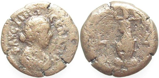 Ancient Coins - Faustina II, AE Diobol, 163/164 (Year 4), Egypt-Alexandria - Emmett 2314 (Ex Keith Emmett Collection)