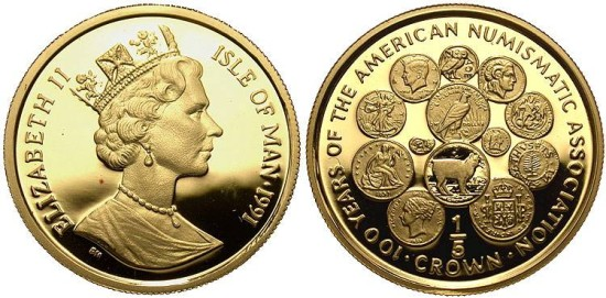 Ancient Coins - Isle of Man, 1/5 Crown Proof, 1991, 100th Anniversary of ANA, Pobjoy Mint - KM 290 (Mintage = 100 pieces)