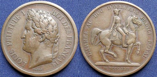 France, Louis Philippe I (1830-1848), AE Medal, 1842 - Equestrian statue of Duke of Orleans