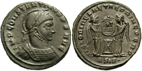 Constantine I, AE3, 319, Siscia, Officina 4 - RIC VII, 59