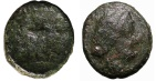 Ancient Coins - Kings of Macedonia. Philip V and Perseus. AE 16. struck 187-168 BC at Thessalonica mint. Apollo \ Tripod.