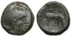 Ancient Coins - Pella, Macedonia, ca. 187-31 BC. AE17 Athena \ bull grazing right