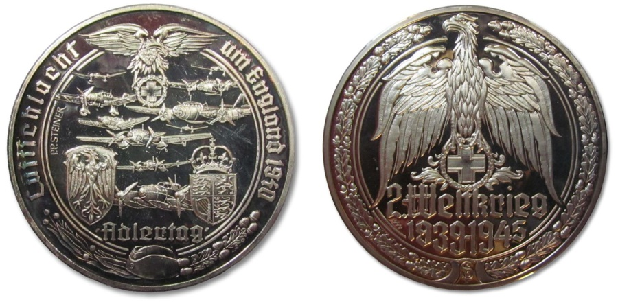 50mm Silver Medal Ww2 The Battle Of Britain Luftwaffe Vs