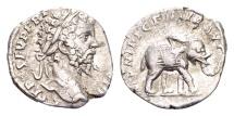 Ancient Coins - Septimius Severus AD 193-211, AR Denarius (17mm, 2.43 g) Rome 197 / Elephant
