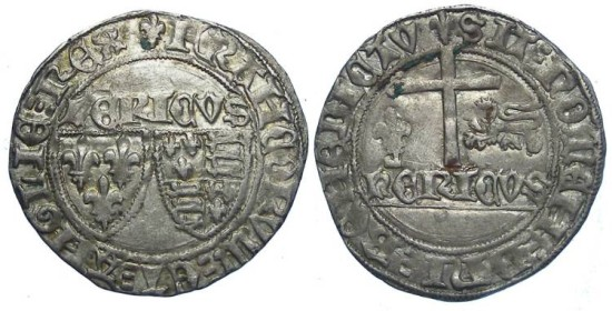 Anglo-Gallic. Henry VI, AD 1422 to 1453. Silver grand blanc aux ecus.