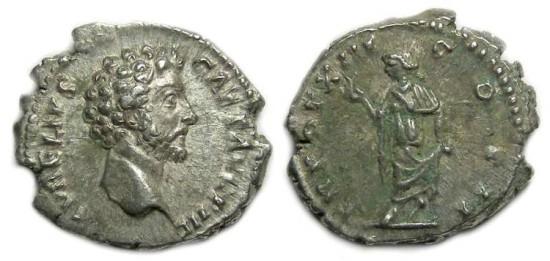 Marcus Aurelius as Caesar, AD 139 to 161, Silver denarius.