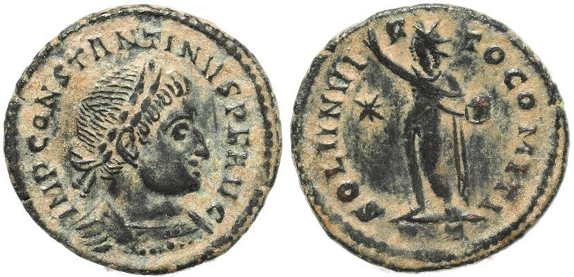 AE2 de Constantino I. SOLI INVIC-TO COMITI. Ceca Londinium. TCf29M4tE7y4ac5PK8qnzYL6Zs7wj3