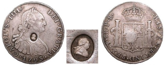 World Coins - GREAT BRITAIN George III ND (1797) on 1793-PTS PR Bank Dollar (4 Shillings 9d) Choice EF