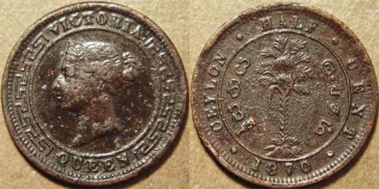 World Coins Sri Lanka Ceylon British Period Queen Victoria Ae 1 2 Cent 1870
